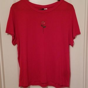 Red Rose Embroidered Tshirt